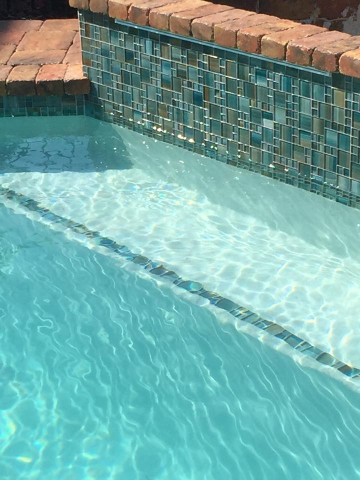 custom tile work in recently finished pool construction