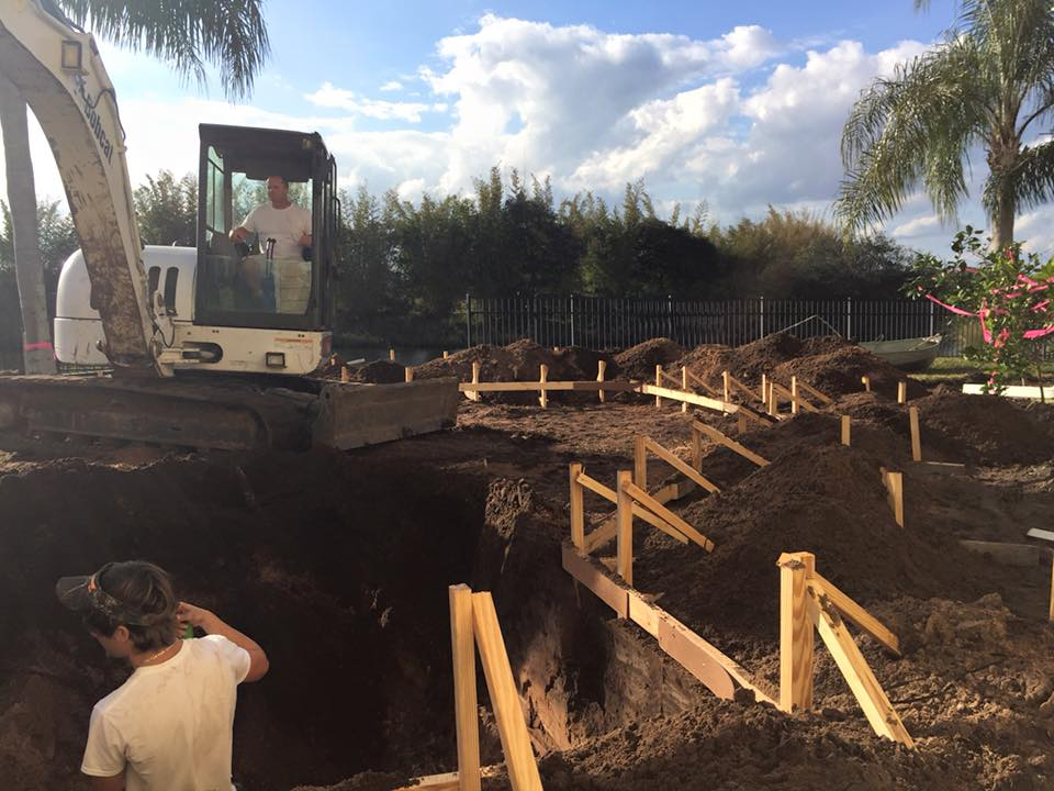 Digging for new pool construction in St Augustine