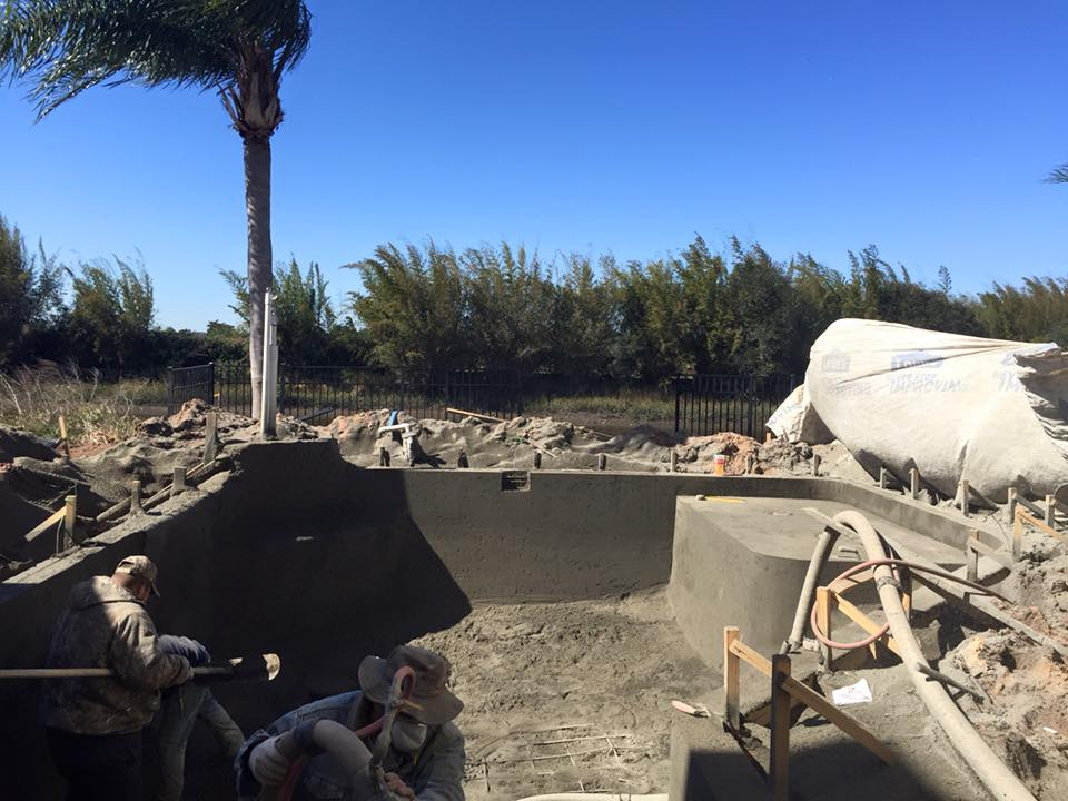 Shooting gunite shell for new pool in St Augustine