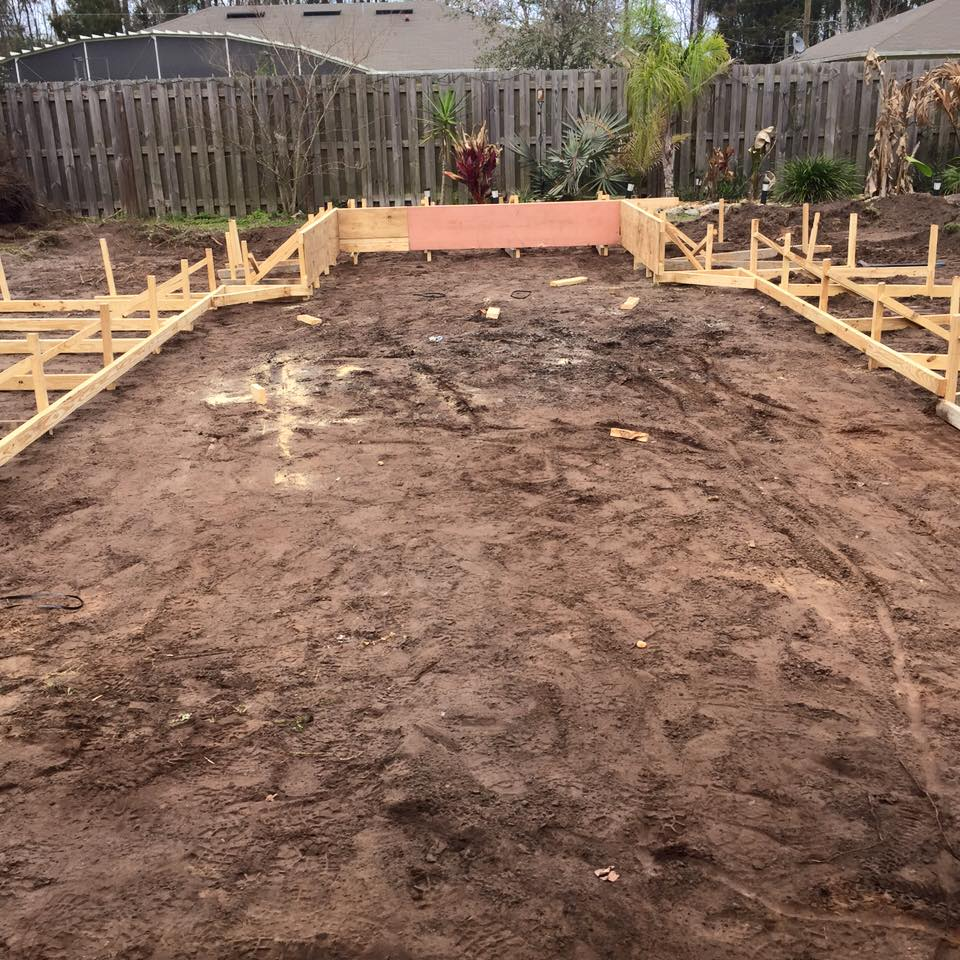 Prepping ground for new pool construction