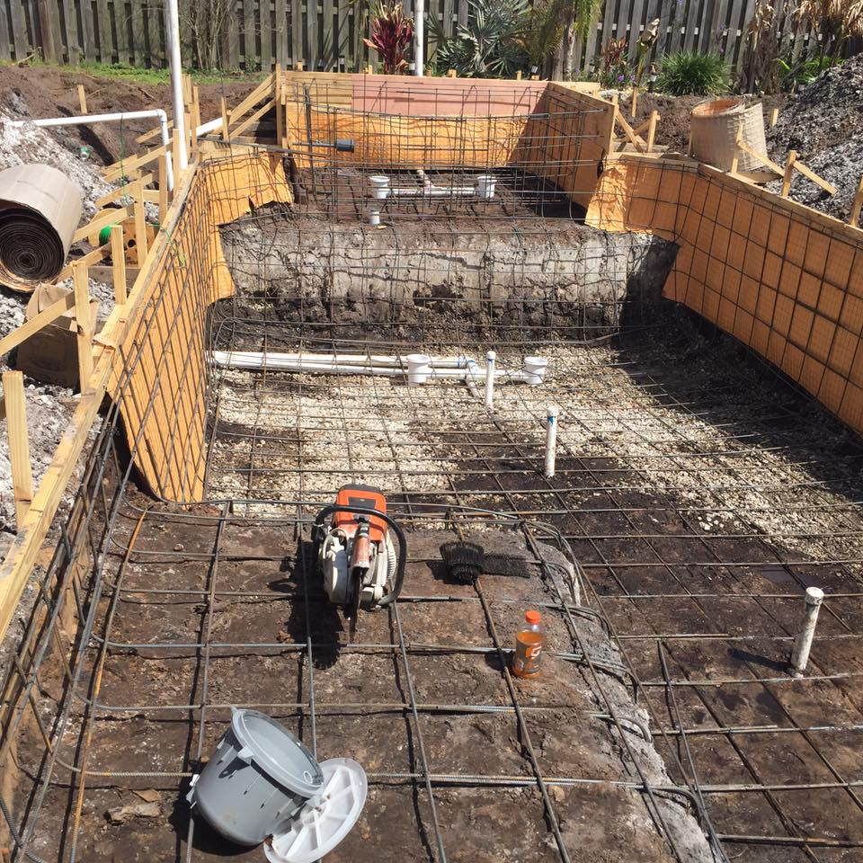Steel pool frame and plumbing complete