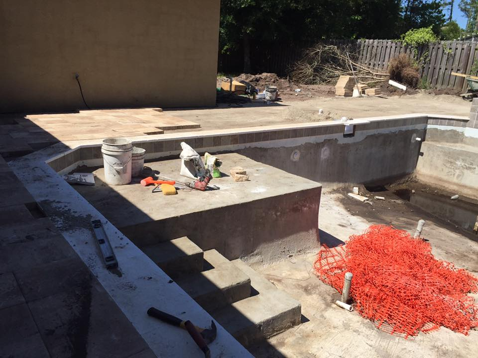 Installing travertine coping